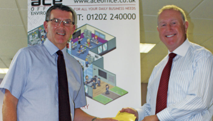 Keith presents DM Service leaflets to Ken