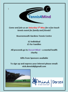 Charity Sports Event - Tennis4Mind @ Bournemouth Gardens Tennis Centre | England | United Kingdom