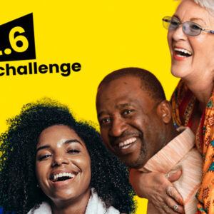 Group Of People On A Yellow Background With The 2.56 Challenge Logo
