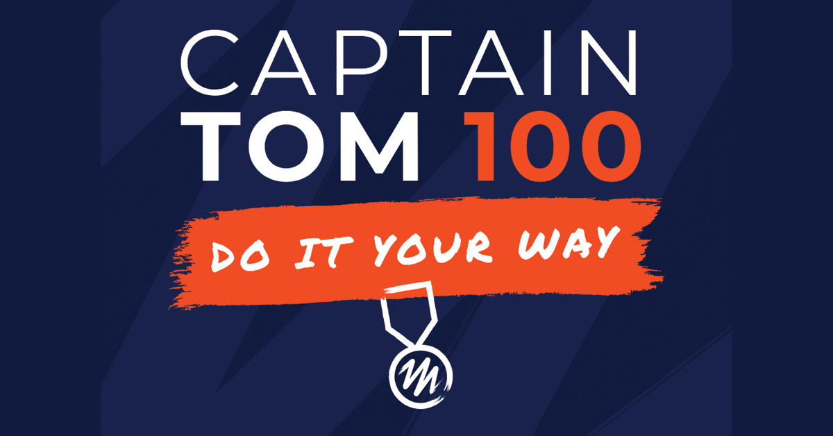 Captain Tom Logo on Blue background