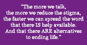 Purple Graphic With A Quote From Our Suicide Prevention Strategy